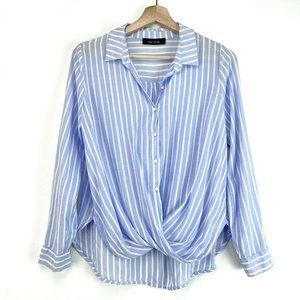 Kaitlyn Womens Blue Striped Button Up Blouse